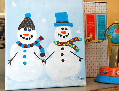 Blue Eyed Yonder Snowman Painting